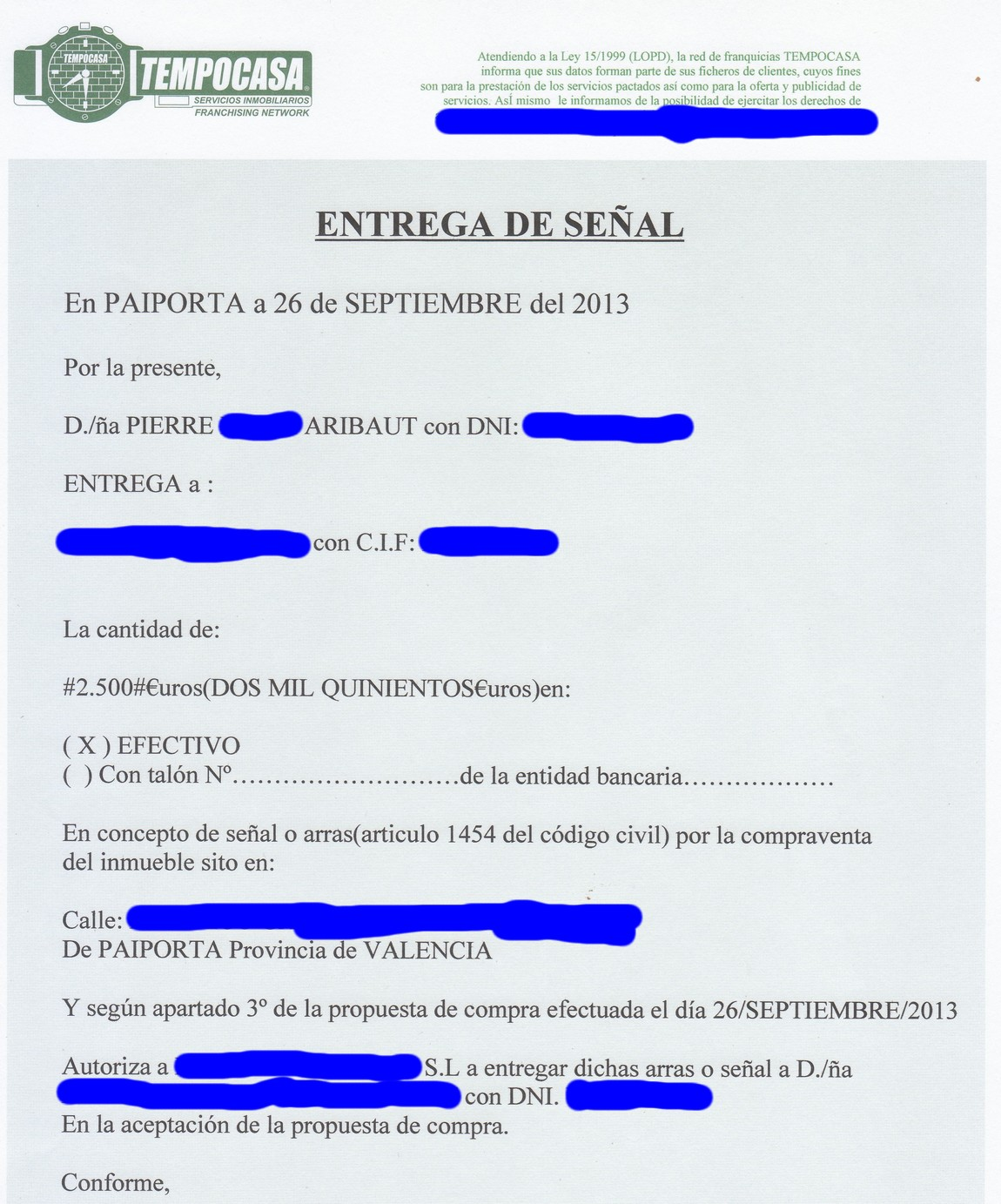 acompte-2500-euros-achat-4eme-appartement-paiporta-valencia-26-septembre-2013.jpg