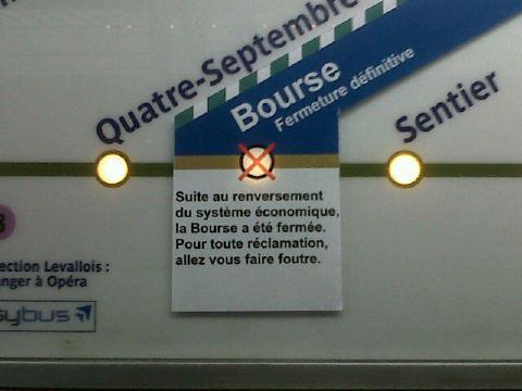 bourse de paris fermeture définitive blague métro parisien