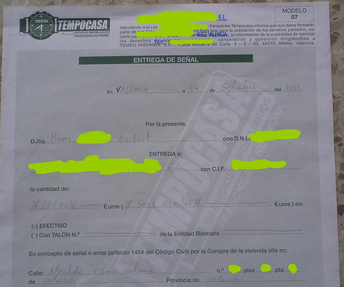 Proposition d 39 achat appartement valencia en cours for Acompte achat maison
