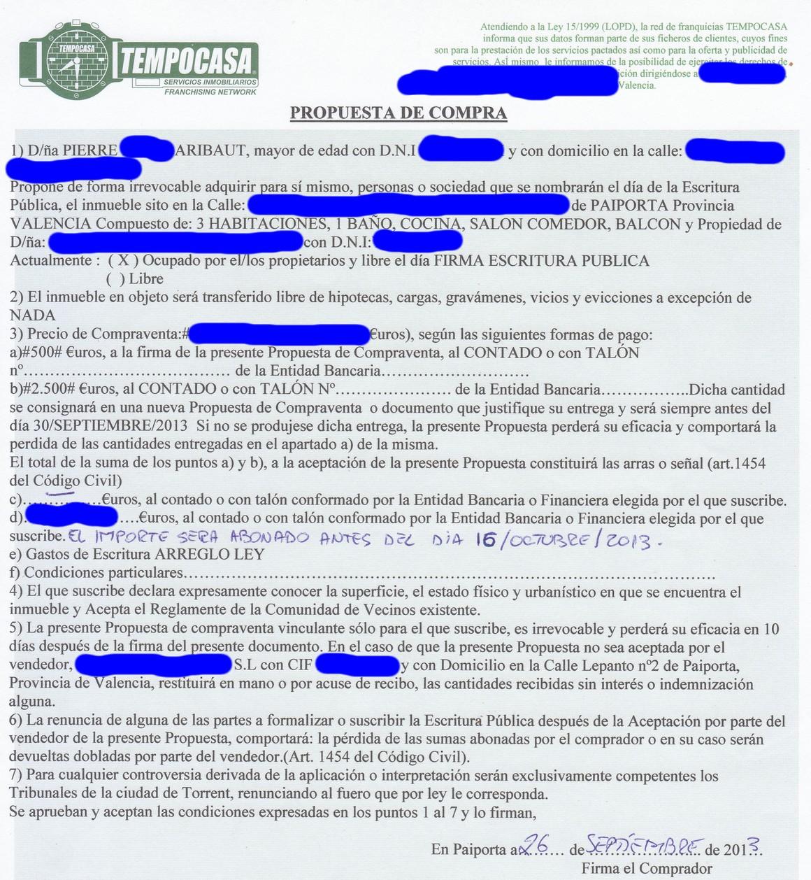 proposition achat contrat réservation 4ème appartement paiporta valencia