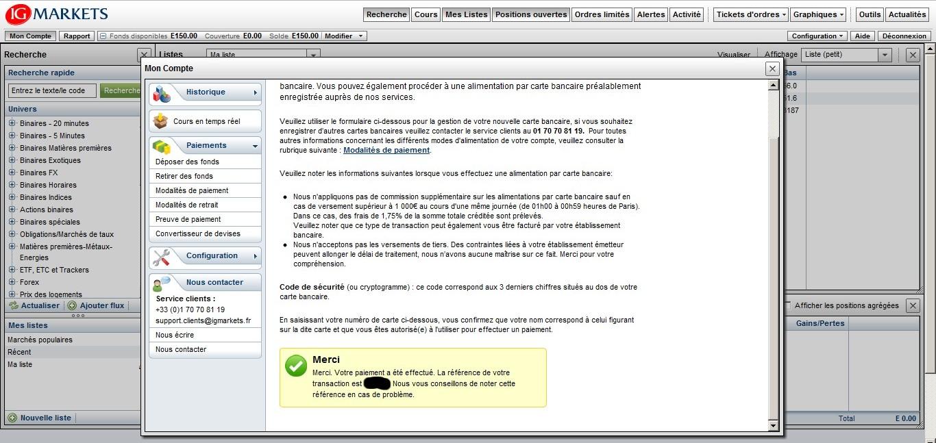 test passage ordres cfd ig markets avec tradesense credit par carte bancaire immediat 12 decembre 2011
