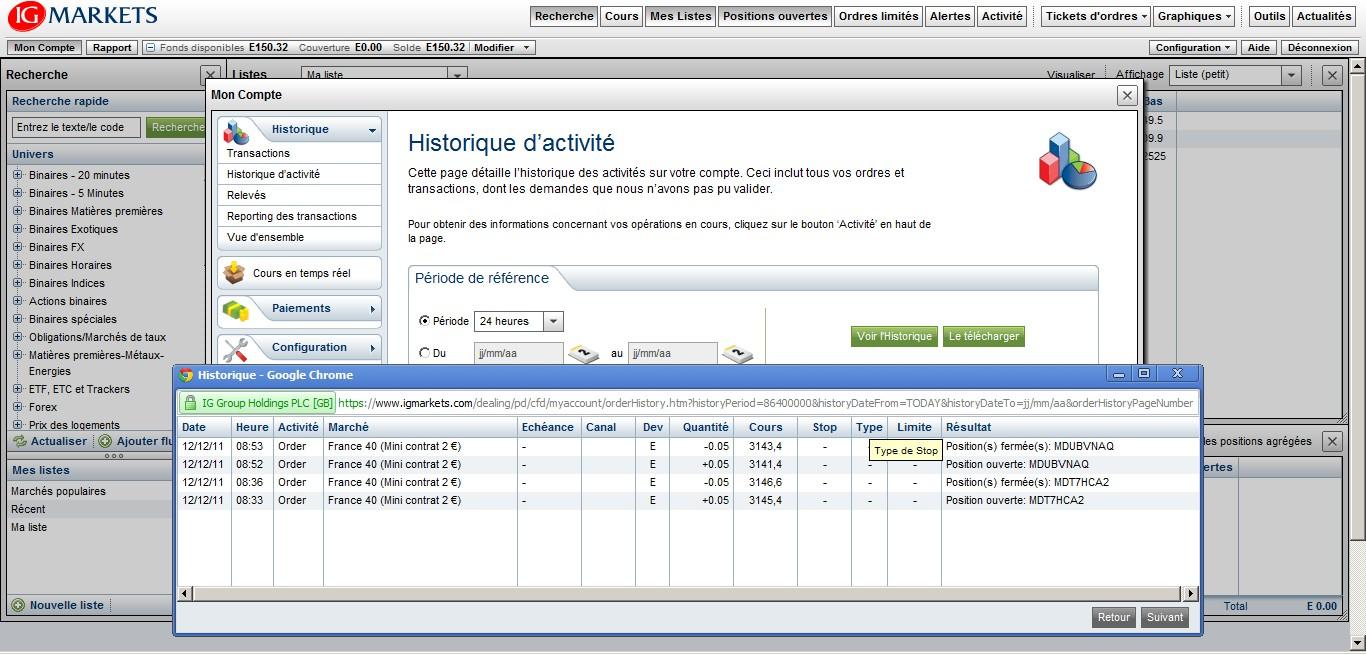 test passage ordres cfd ig markets avec tradesense historique 12 decembre 2011