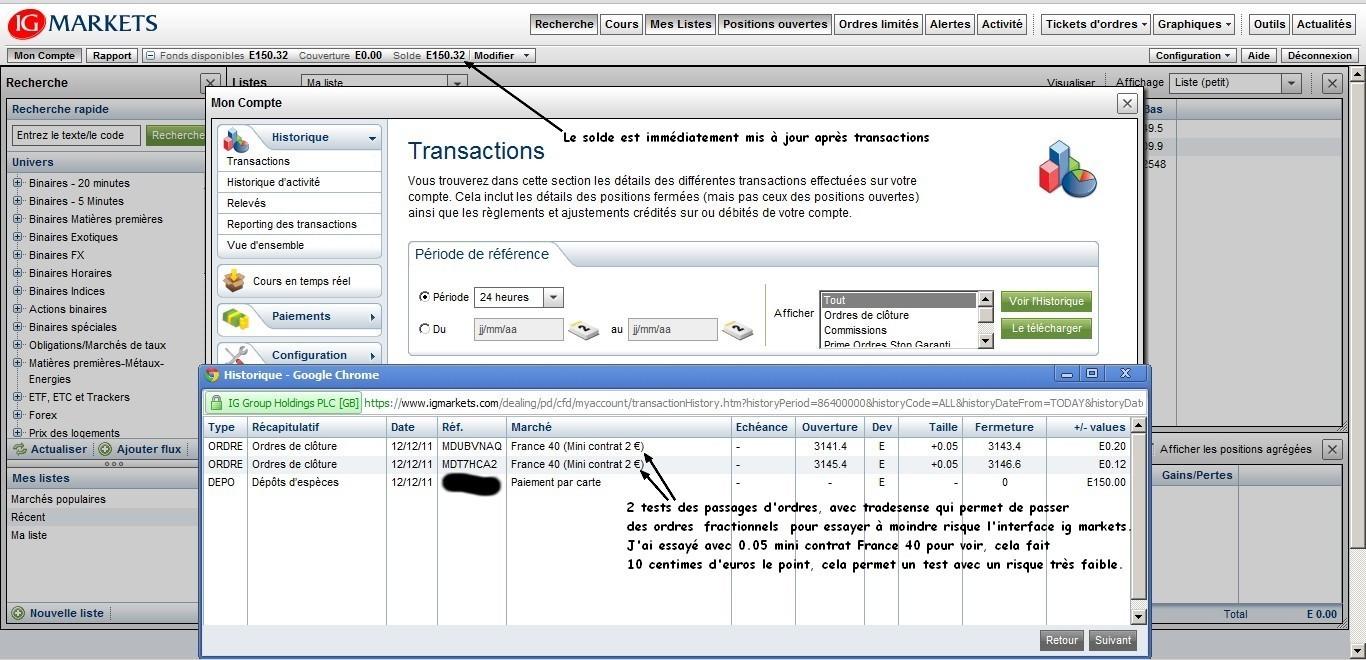 test passage ordres ig markets avec tradesense transactions 12 decembre 2011