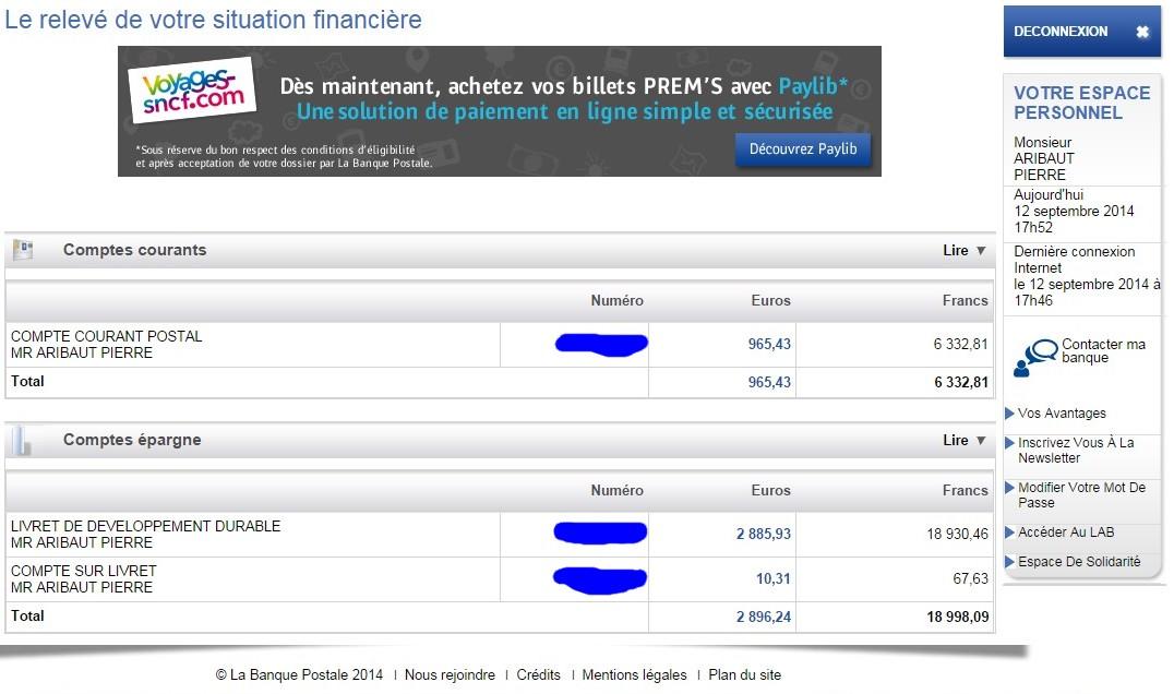 zetrader comptes ccp ldd csl banque postale 12 septembre 2014