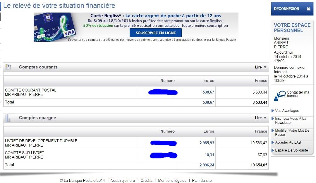 zetrader comptes ccp ldd csl banque postale 14 octobre 2014