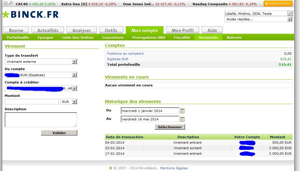 zetrader binck dernier virement entrant 2014 au 16 mai 2014