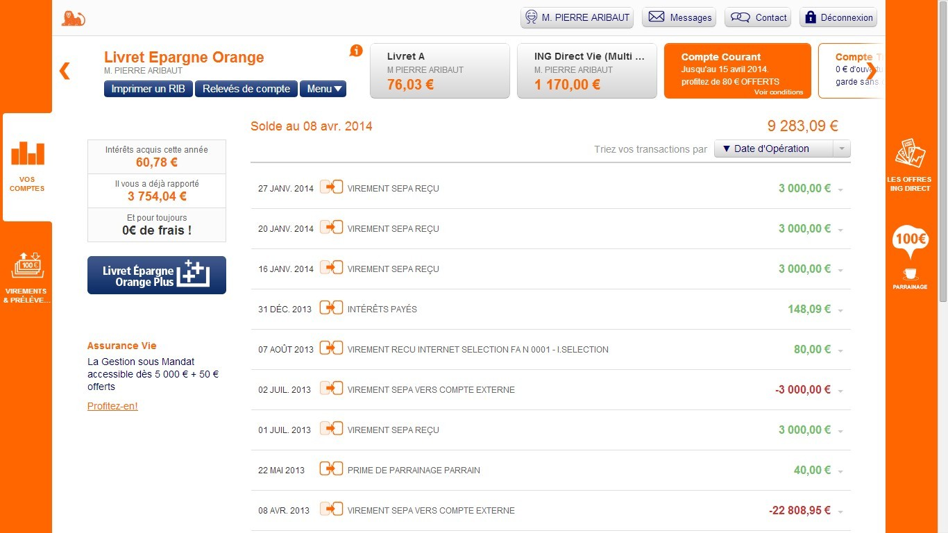 zetrader solde livret epargne orange ing 8 avril 2014