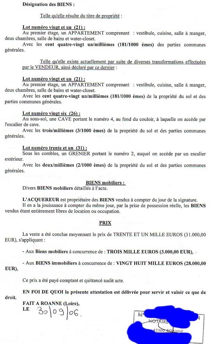 Appartement vendu en b n fice pi ces du dossier blog finance bourse trading - Prix notaire achat maison ...