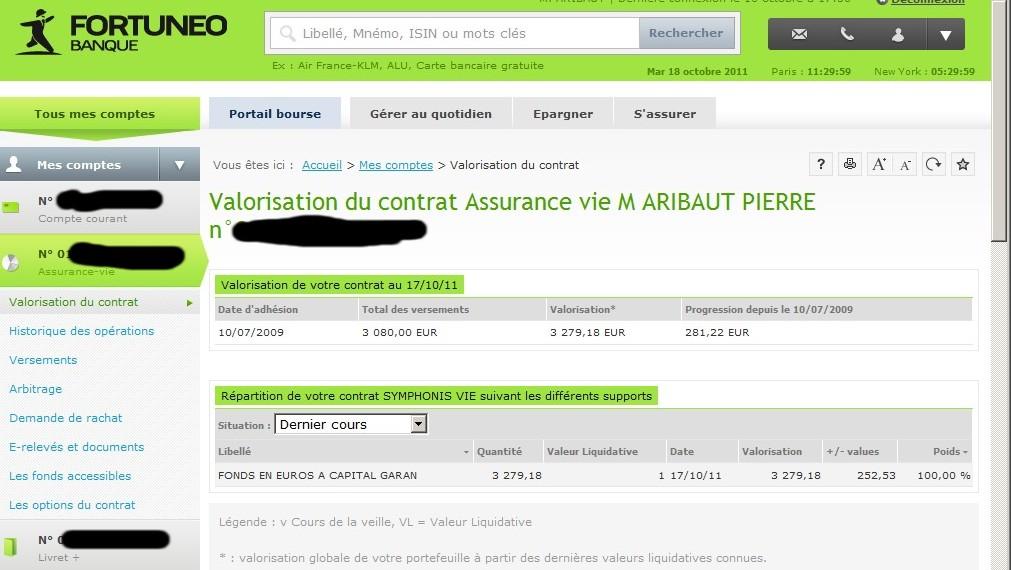 zetrader solde assurance vie fortuneo 18 octobre 2011