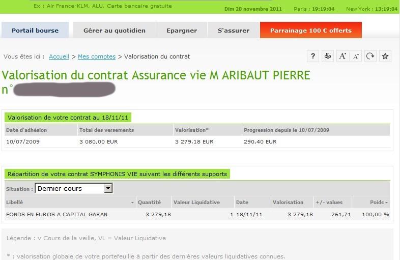 zetrader solde assurance vie fortuneo 20 novembre 2011