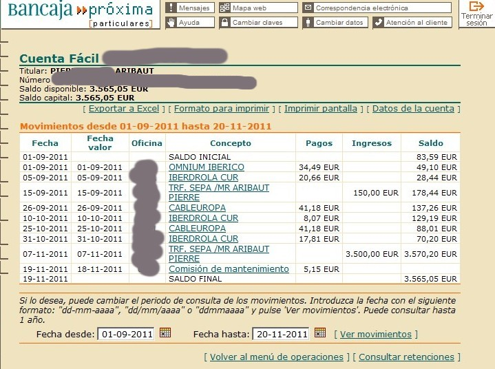 zetrader solde bancaja 20 novembre 2011