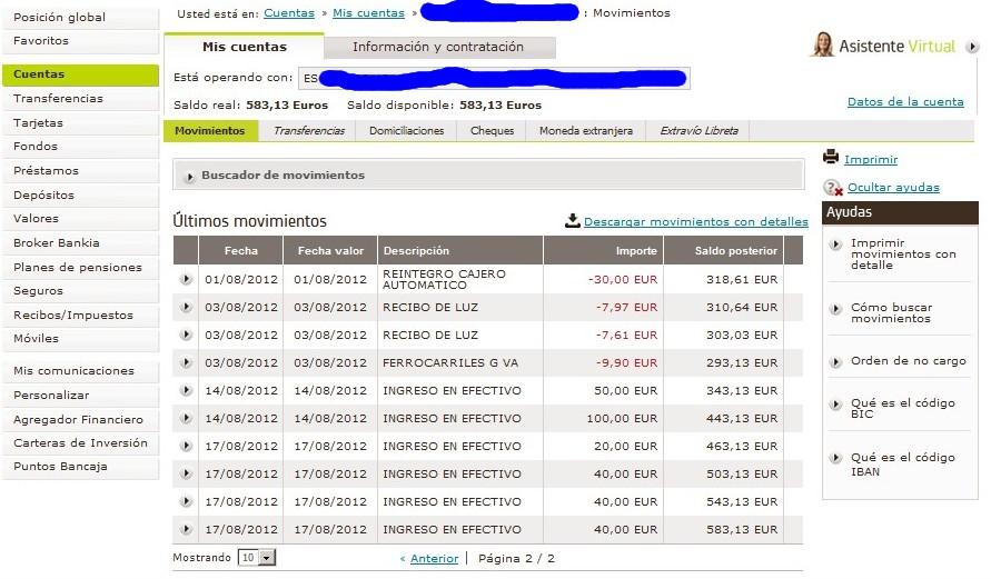 zetrader solde bankia derniers mouvements 18 aout 2012