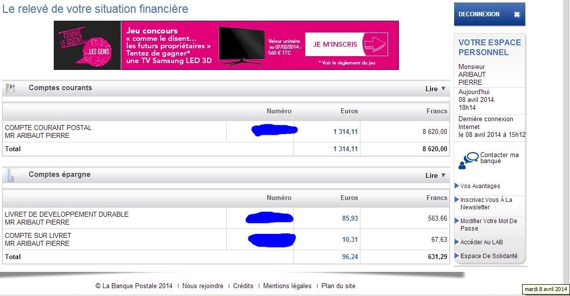 zetrader comptes ccp ldd csl banque postale 8 avril 2014