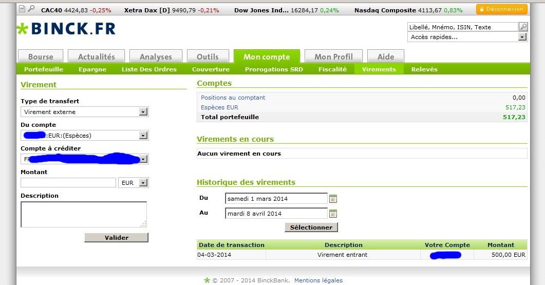 zetrader binck dernier virement entrant 2014 au 8 avril 2014