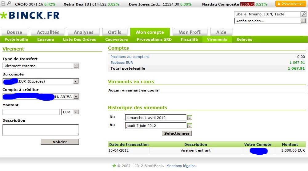 zetrader solde compte titres virements entrants entre avril et le 7 juin 2012