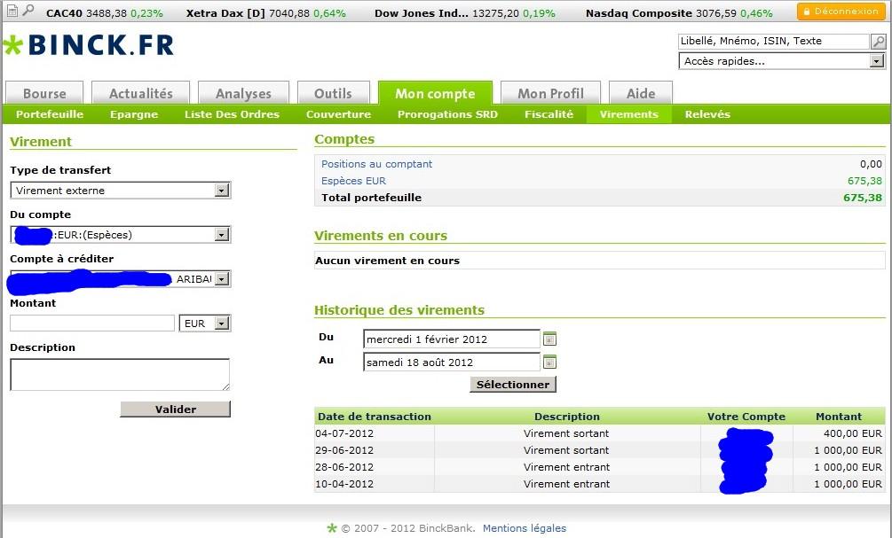 zetrader solde compte titres virements entrants sortants entre avril et 18 aout 2012