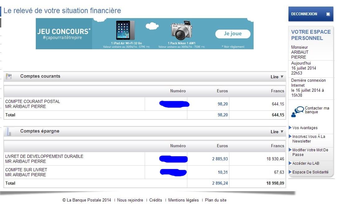 zetrader comptes ccp ldd csl banque postale 16 juillet 2014