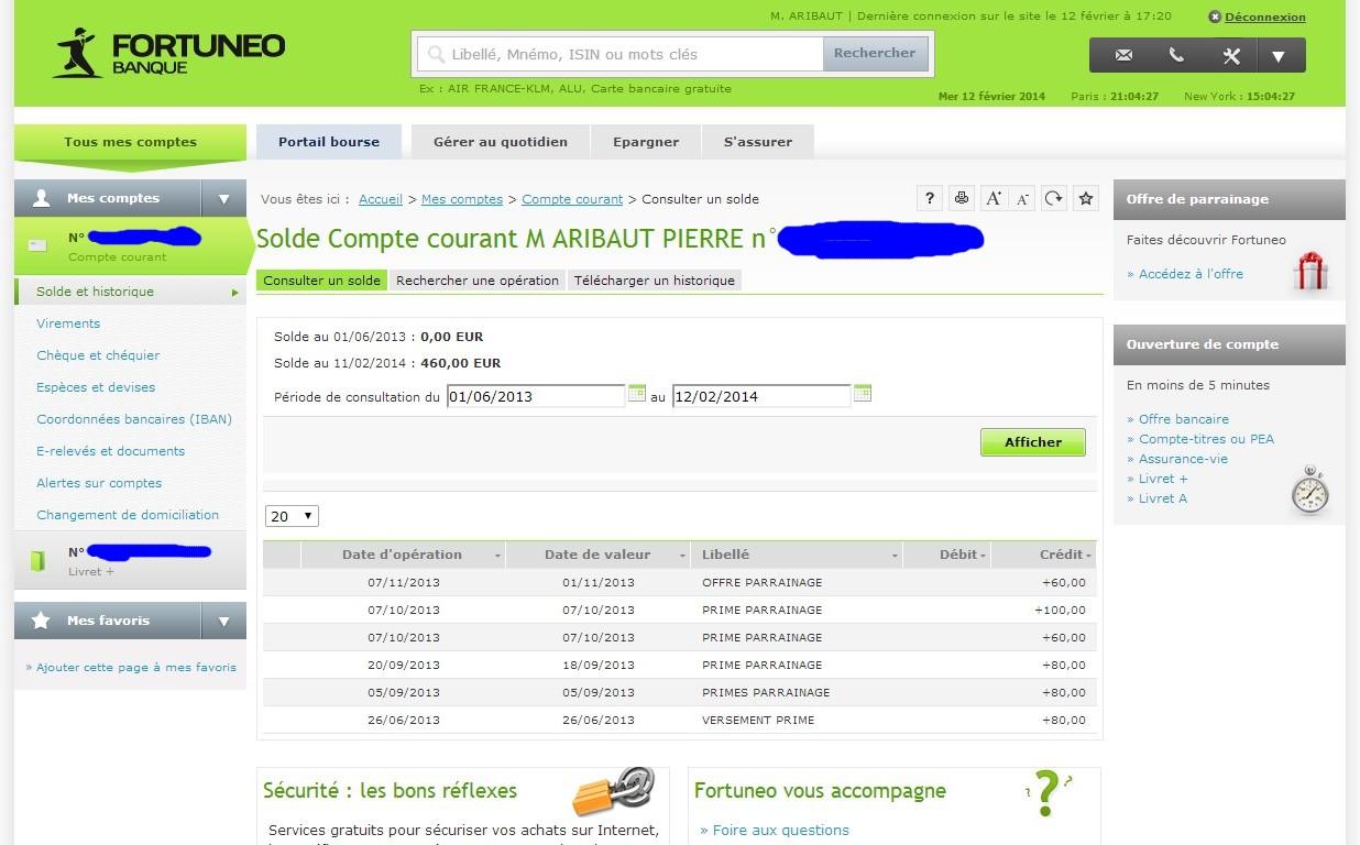 zetrader compte courant fortuneo 12 fevrier 2014