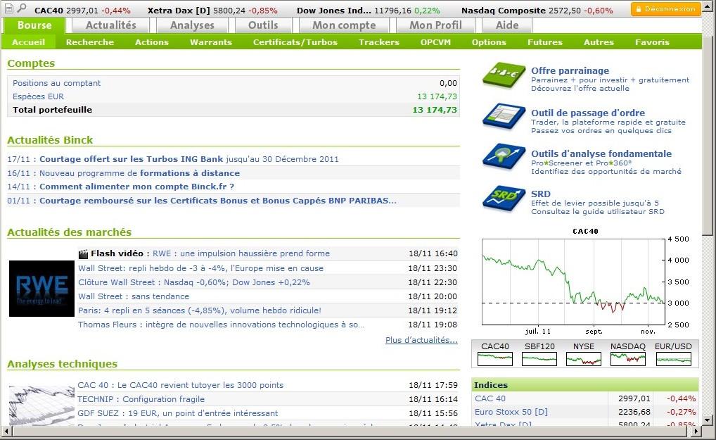 zetrader solde compte titres binck bank 20 novembre 2011