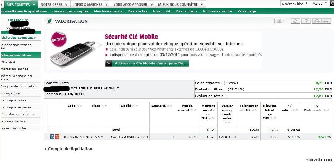 solde compte-titres cortal consors 18 octobre 2011