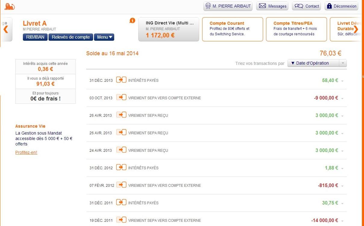 zetrader solde livret A ing direct 16 mai 2014