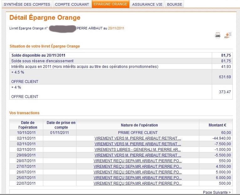 zetrader solde livret epargne orange 20 novembre 2011