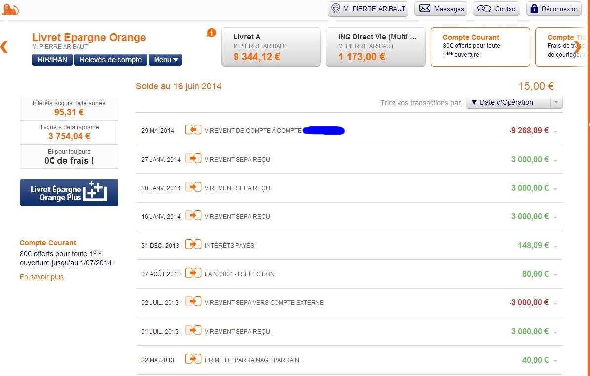zetrader solde livret epargne orange ing 16 juin 2014
