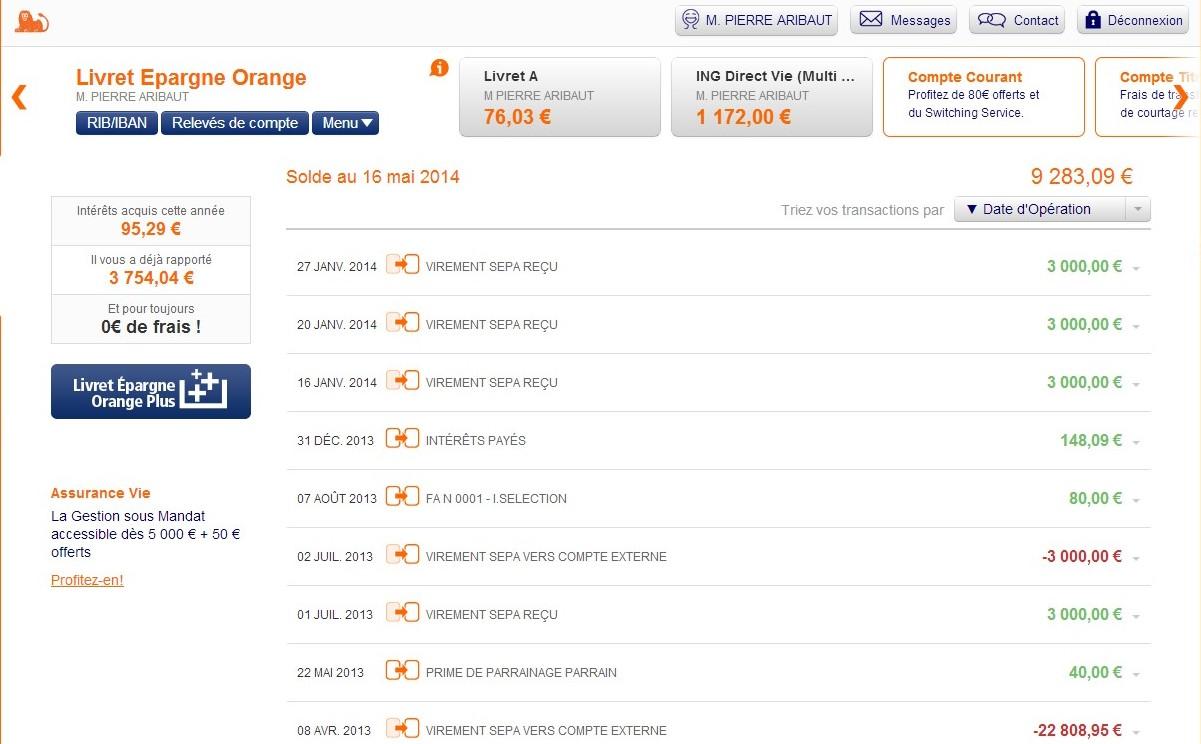 zetrader solde livret epargne orange ing 16 mai 2014