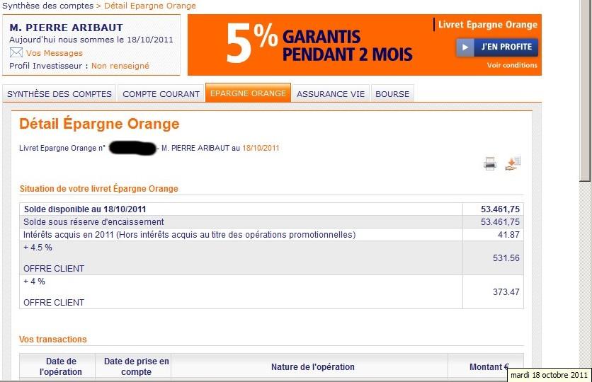 zetrader solde livret ing direct epargne orange 18 octobre 2011