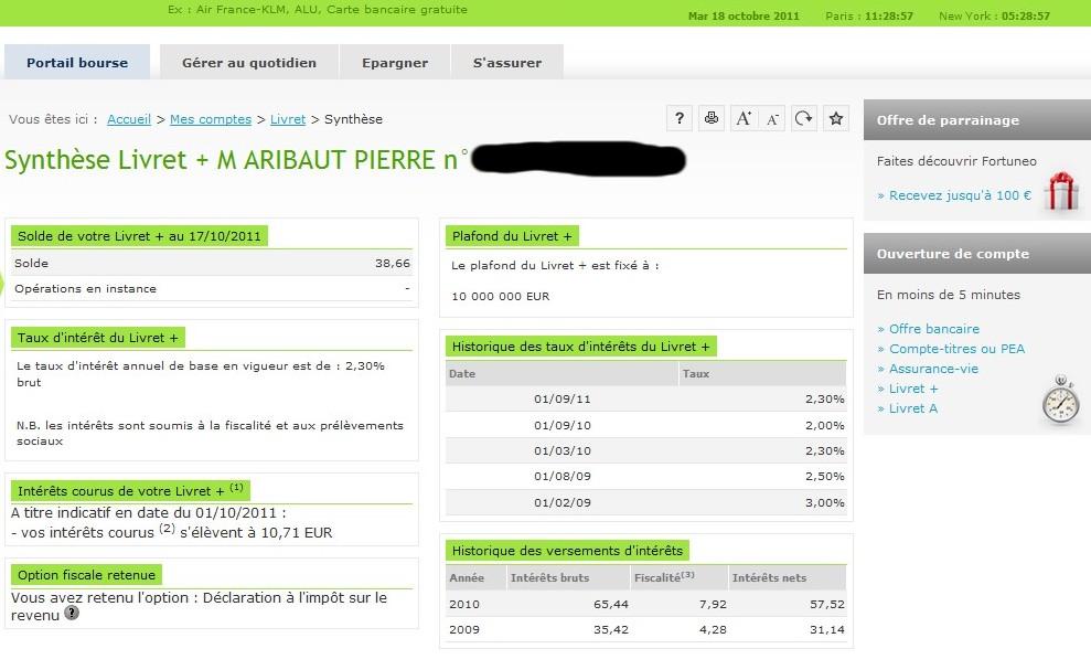 zetrader solde livret plus fortuneo 18 octobre 2011