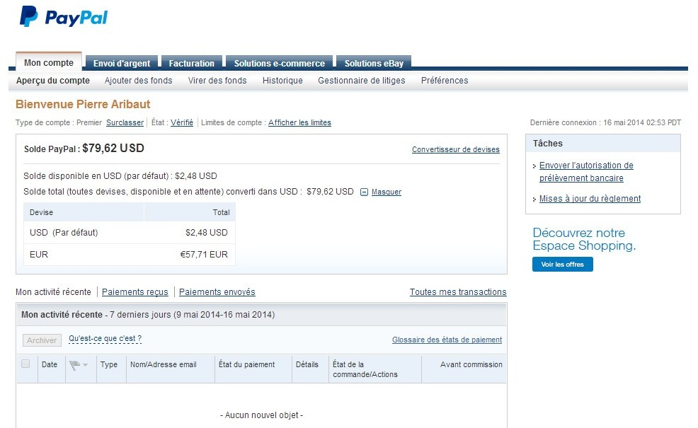 zetrader solde paypal 16 mai 2014