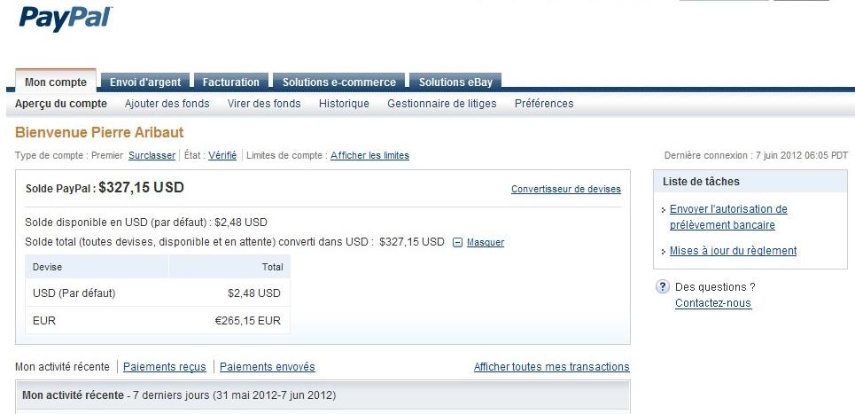 zetrader solde paypal 7 juin 2012