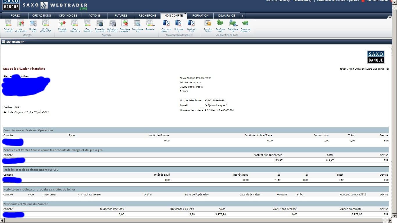 zetrader solde saxo banque situation financière 7 juin 2012